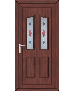 Doncaster Coloured Blast uPVC High Security Door In Rosewood