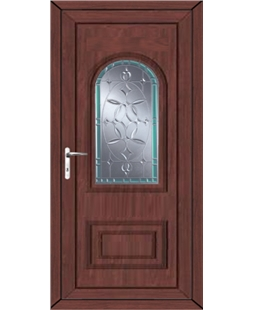 Epsom Diamond Green Border uPVC High Security Door In Rosewood