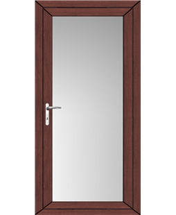 Full Glass uPVC High Security Door In Rosewood