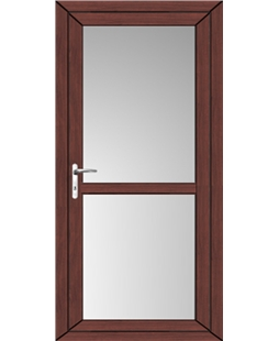 Full Glass uPVC High Security Back Door with Midrail In Rosewood