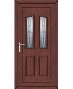 Doncaster New Silver uPVC High Security Door In Rosewood