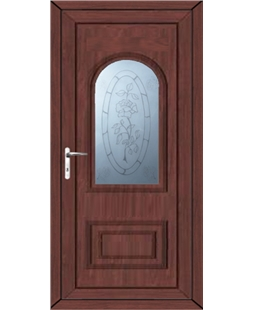 Epsom Rose Sandblast uPVC High Security Door In Rosewood