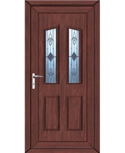 Doncaster Sandblast Bevel uPVC High Security Door In Rosewood