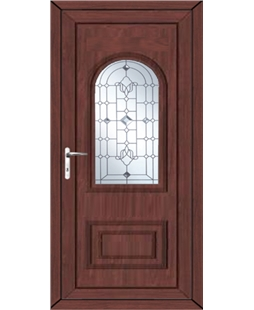 Epsom Crystal Shimmer uPVC High Security Door In Rosewood