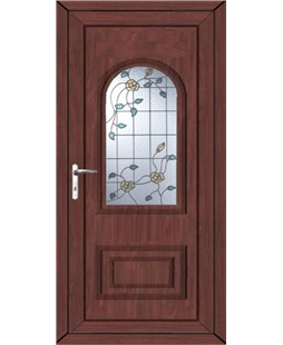 Epsom Yellow Rose uPVC High Security Door In Rosewood