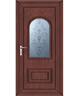 Epsom Victorian Sandblast uPVC High Security Door In Rosewood
