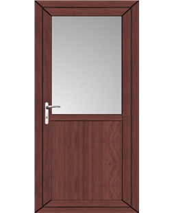 Kirkcaldy Half Flat Panel uPVC High Security Back Door In Rosewood