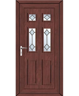 Aylesbury Diamond Bevel uPVC High Security Door In Rosewood