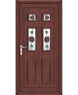 Aylesbury Creeping Rose uPVC High Security Door In Rosewood