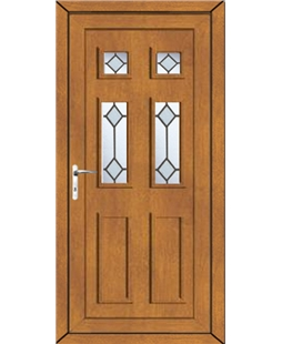 Aylesbury Diamond Bevel uPVC High Security Door In Oak