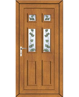Aylesbury Rose Vine uPVC High Security Door In Oak