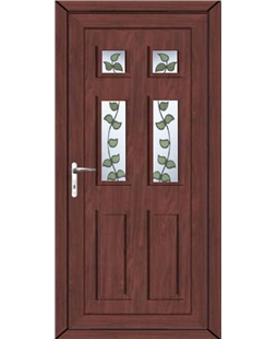 Aylesbury Rose Vine uPVC High Security Door In Rosewood