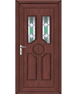 Queensborough Bevel uPVC High Security Door In Rosewood