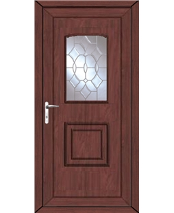 Fareham Clear Crystal uPVC High Security Door In Rosewood