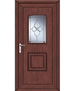Fareham Crystal Pearl uPVC High Security Door In Rosewood
