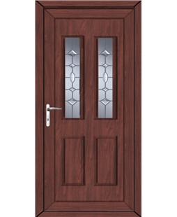 Irvine Clear Crystal uPVC High Security Door In Rosewood
