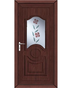 Johnstone Clear Resin Rose uPVC High Security Door In Rosewood