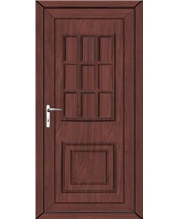 Huddersfield Solid uPVC High Security Door In Rosewood