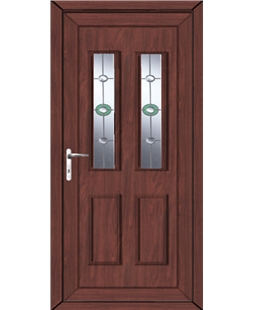 Irvine Golf Bevel uPVC High Security Door In Rosewood