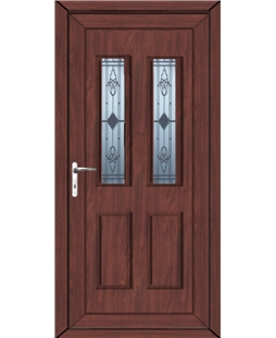 Irvine Sandblast Bevel uPVC High Security In Rosewood