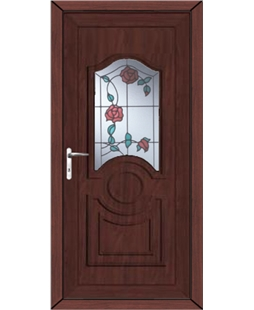 Johnstone Trailing Rose uPVC High Security Door In Rosewood